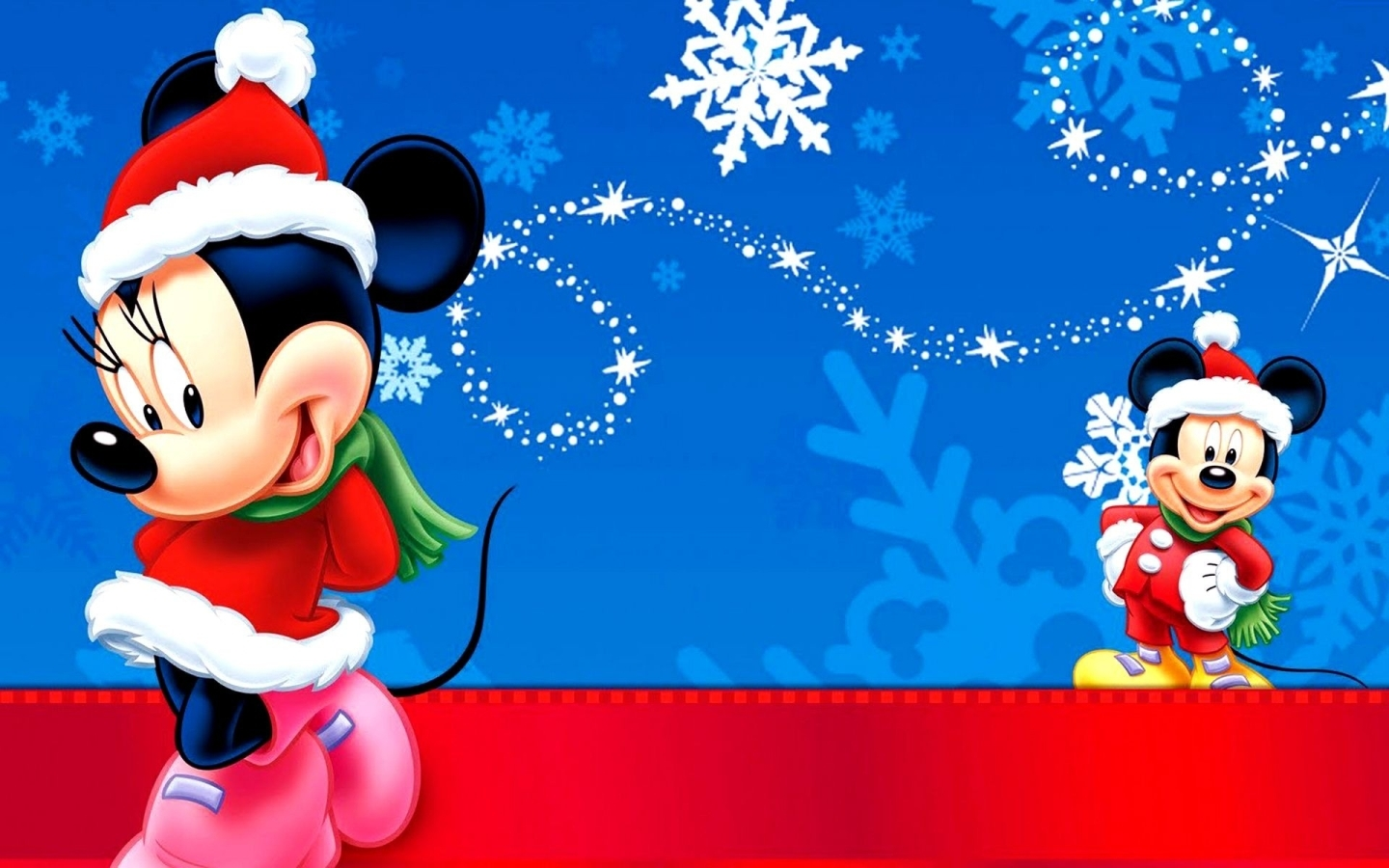 Mickey And Minnie Christmas Backgrounds , HD Wallpaper & Backgrounds