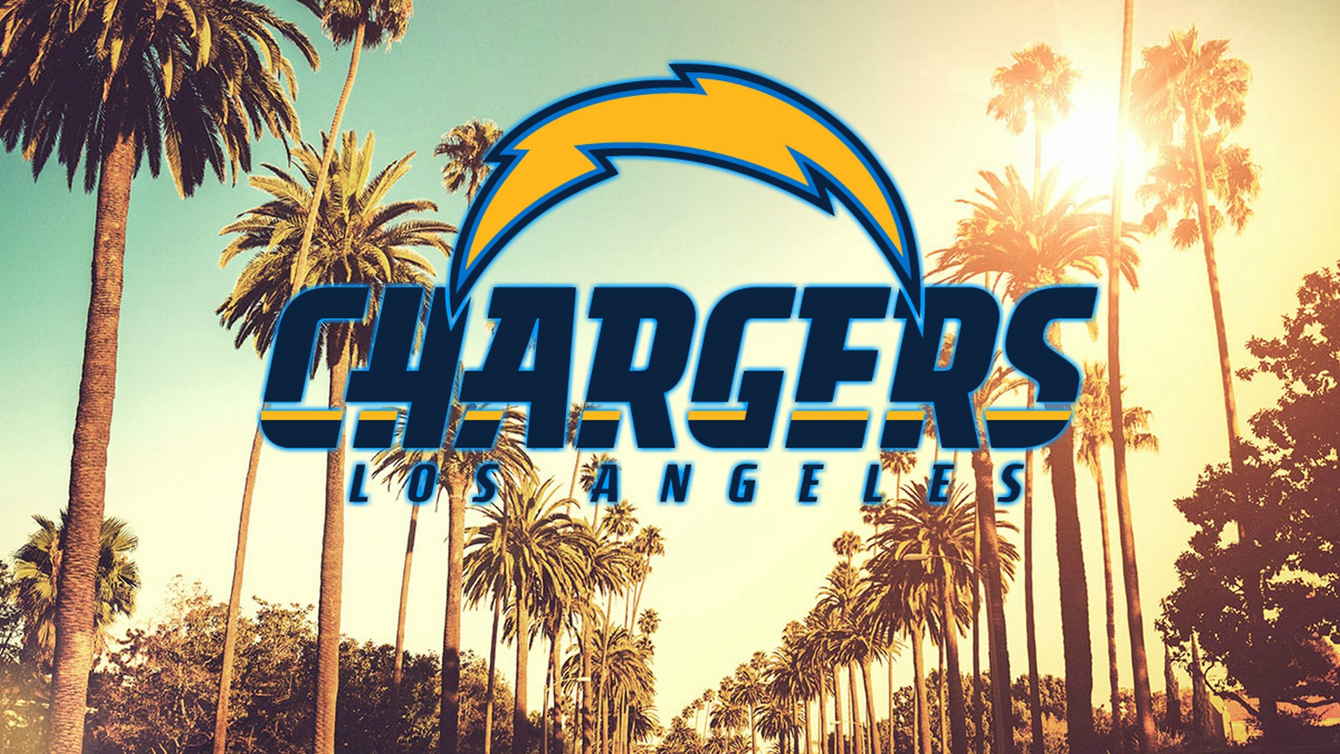 Wallpapers Hd Los Angeles Chargers With Resolution - Hollywood California Palm Trees , HD Wallpaper & Backgrounds
