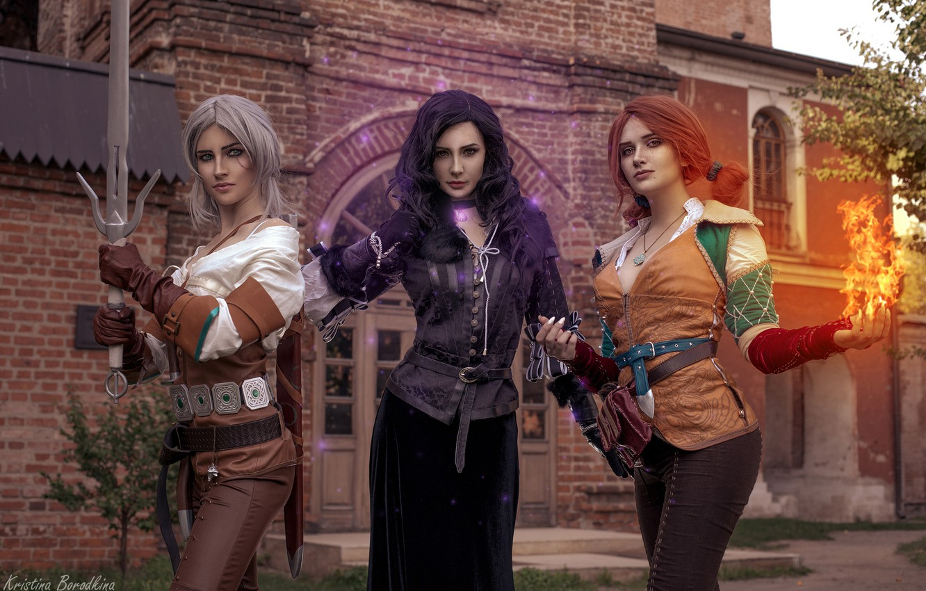 Photo Wallpaper Girls The Witcher Triss Ciri Yen Yennefer