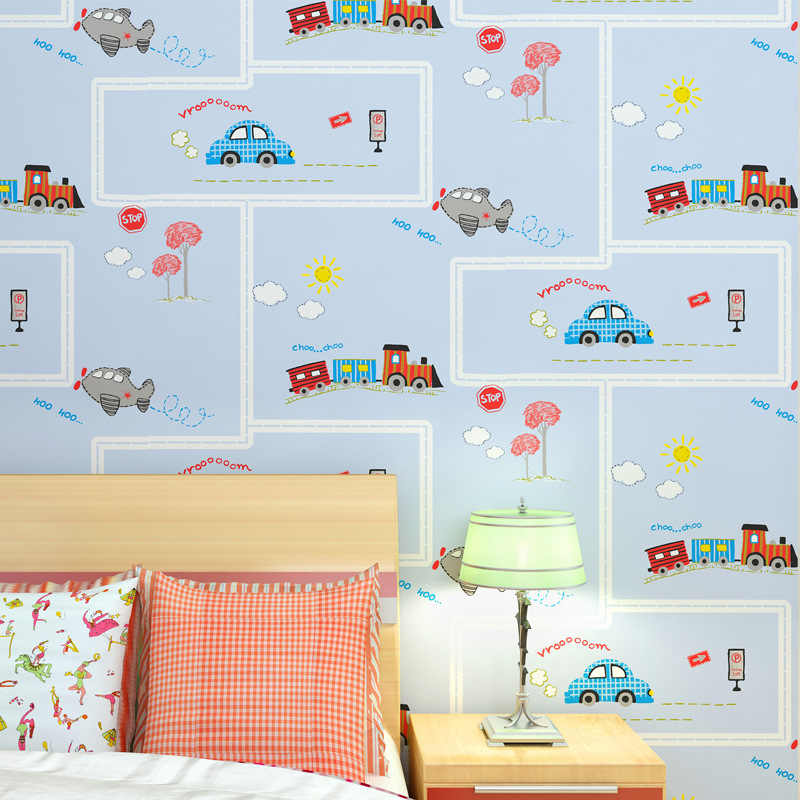 Kids Room Wallpapers Cartoon Cars Road Wall Coverings Boys Bedroom Wallpaper Texture 2590506 Hd Wallpaper Backgrounds Download