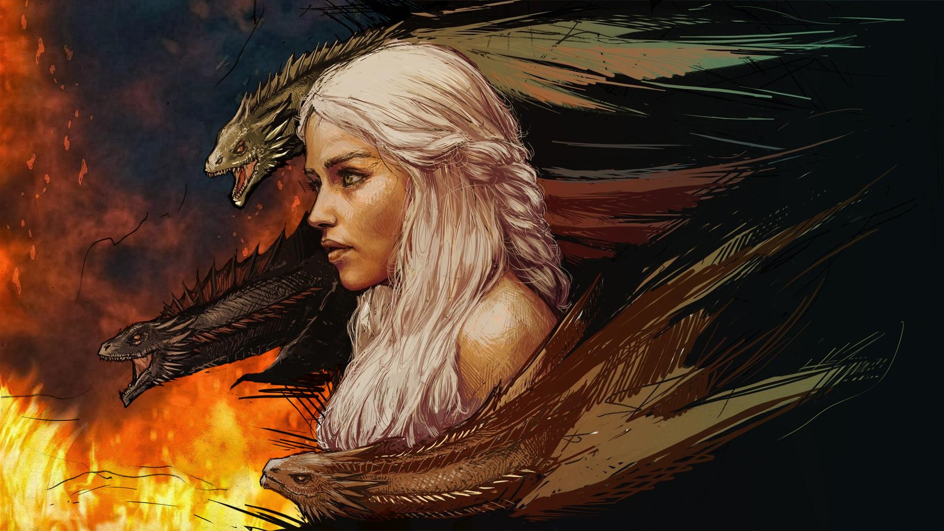 #daenerys Targaryen, #dragon, #game Of Thrones, #fire - Daenerys Targaryen Animated , HD Wallpaper & Backgrounds