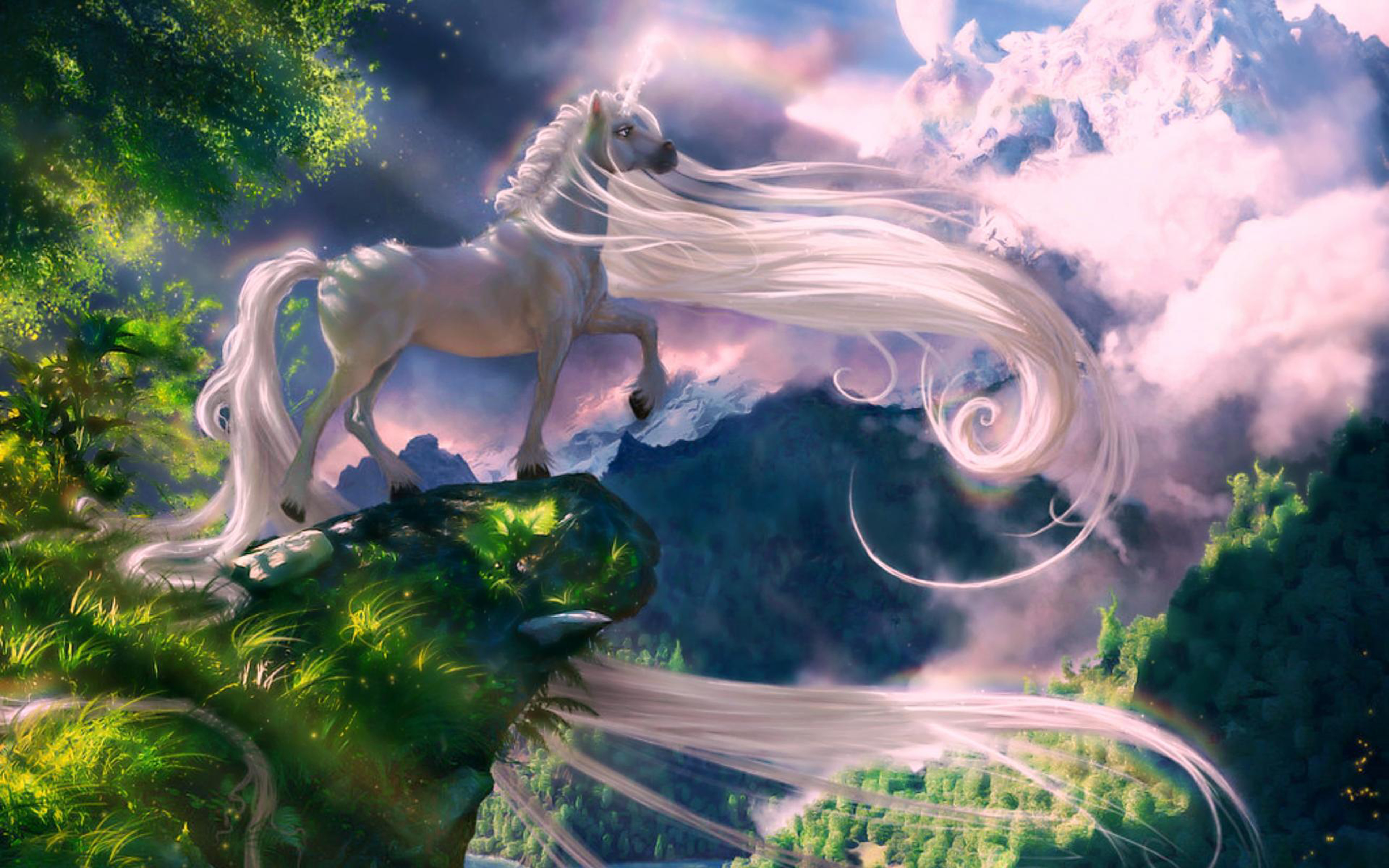 Download Original Resolution - Unicorn Mystical Background , HD Wallpaper & Backgrounds