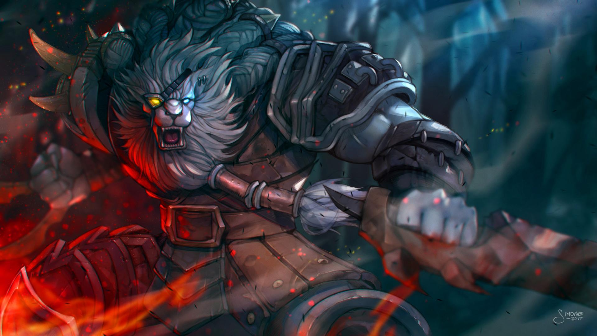 Rengar By Simoneferriero Hd Wallpaper Background Fan - League Of Legends Rengar Fan Art , HD Wallpaper & Backgrounds