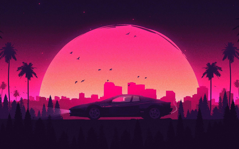 Pink Retro City Lamborghini Macbook Pro Retina Hd 4k Retro
