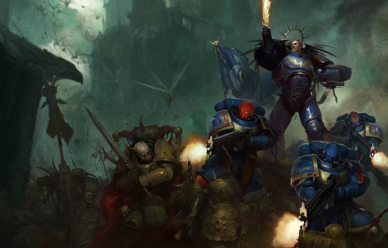 Photo Wallpaper Space Marine Ultramarines Warhammer Dark