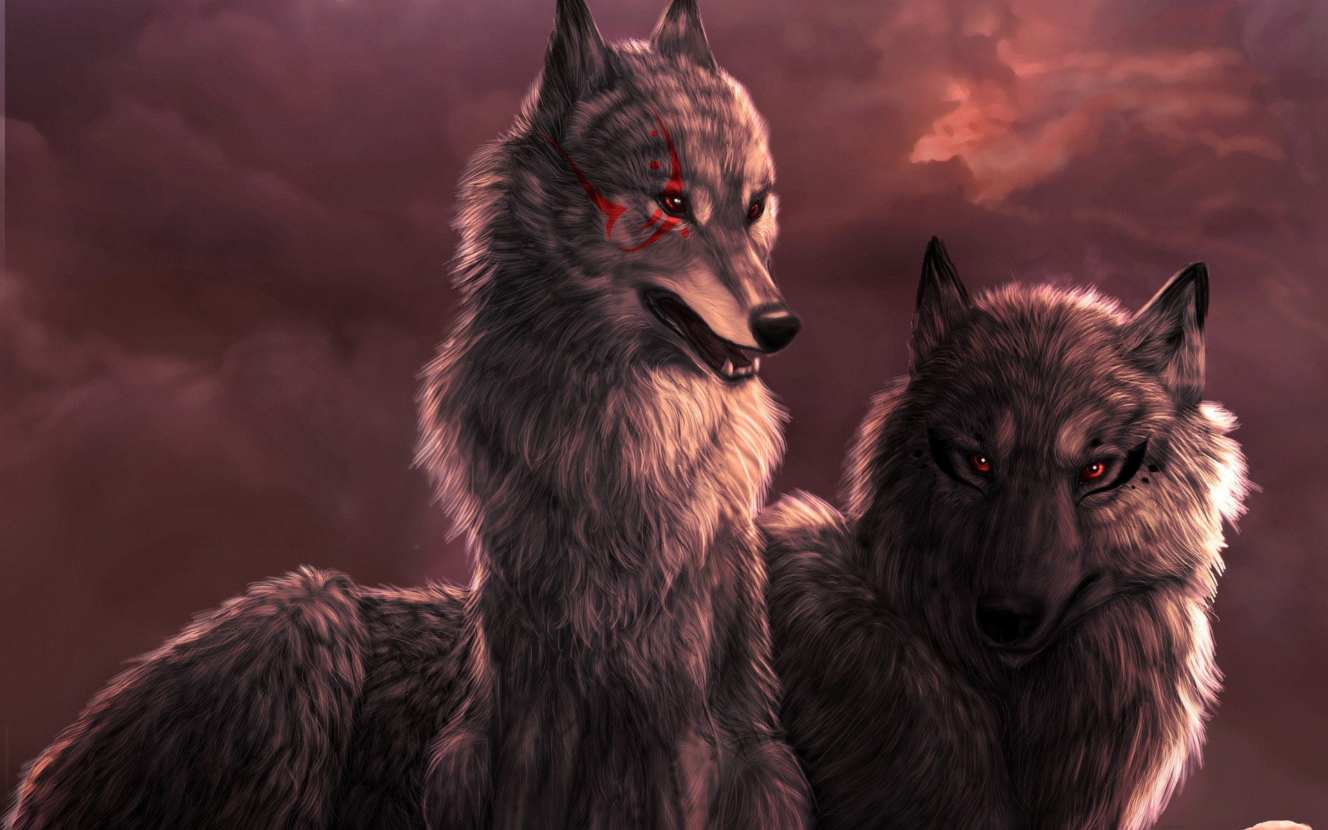 Red Eyes Wolf Artwork 2609389 Hd Wallpaper Backgrounds Download