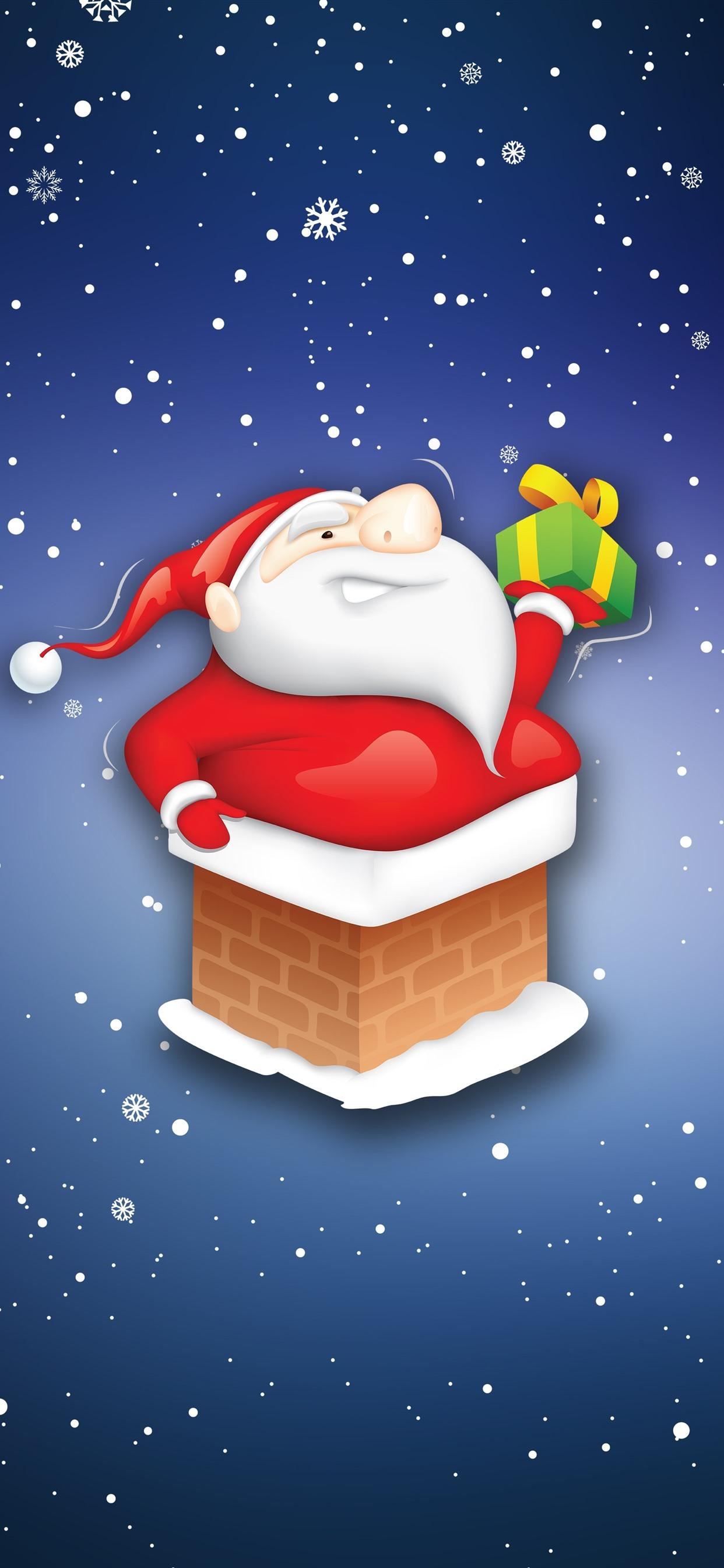 Iphone Wallpaper Santa Claus Gift Snowflakes Cartoon Christmas Santa Snow Background 2610976 Hd Wallpaper Backgrounds Download