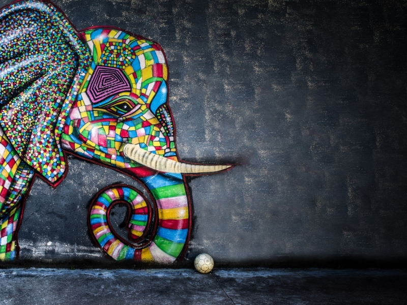 Colorful Elephant Mosaic Wall Art - Colorful Elephant Wallpaper Hd , HD Wallpaper & Backgrounds