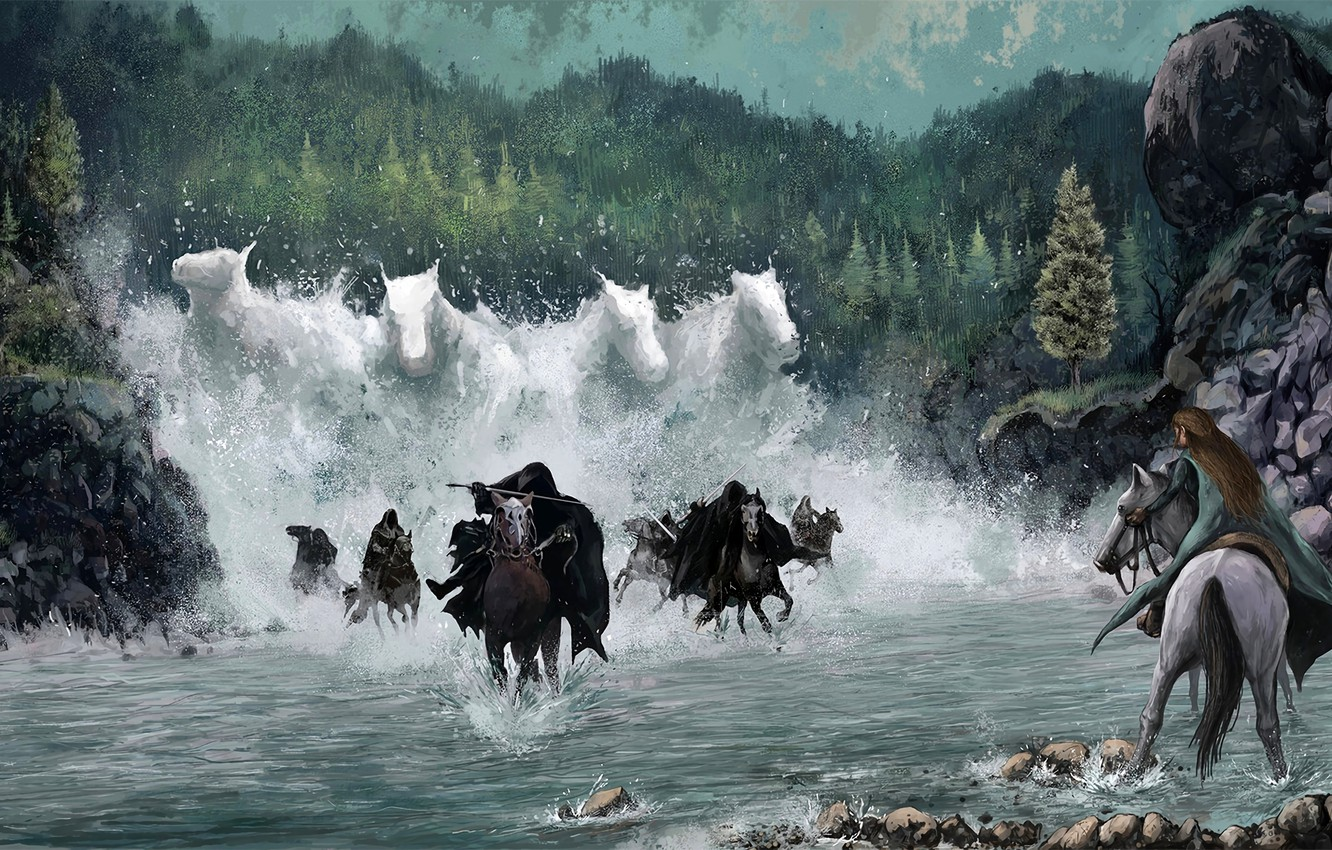 Photo Wallpaper Water, Elf, Horse, The Lord Of The - Arwen Nazgul , HD Wallpaper & Backgrounds