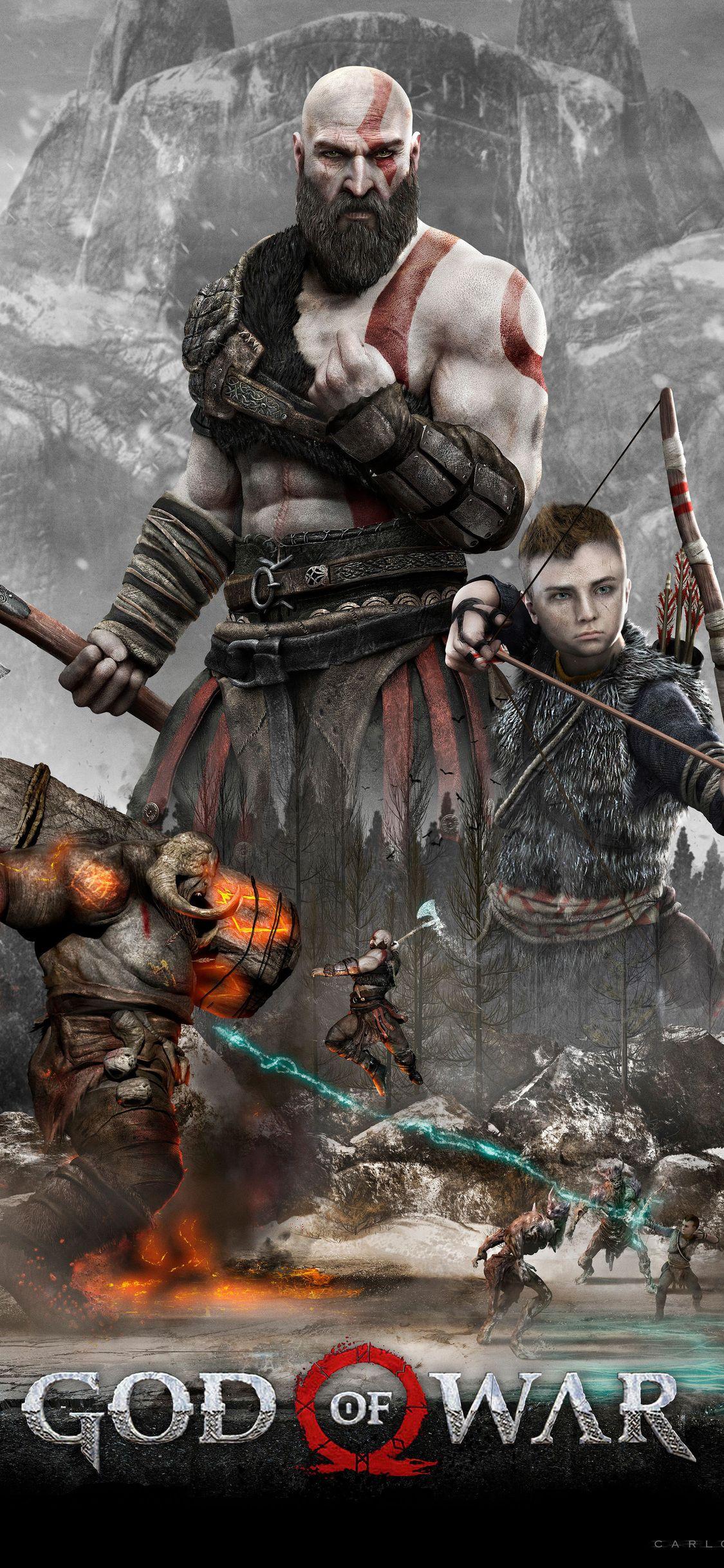 Kratos And Atreus God Of War 4 4k 2018 Iphone Xs,iphone - God Of War Wallpaper Phone , HD Wallpaper & Backgrounds