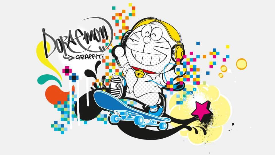 Gambar Grafiti Doraemon - Gambar Grafiti Nama Doraemon , HD Wallpaper & Backgrounds