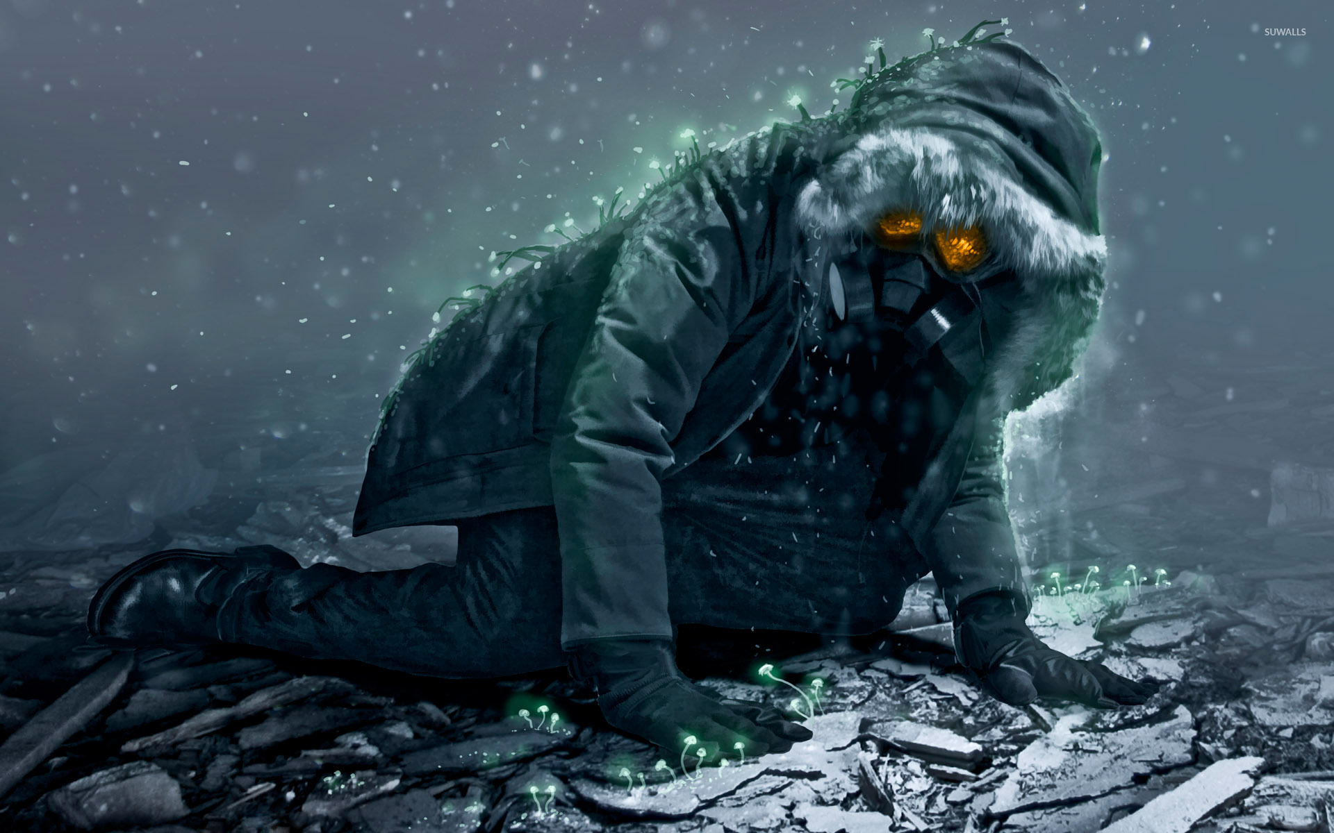 Man With A Gas Mask Crawling Wallpaper Epic Rock Get Up