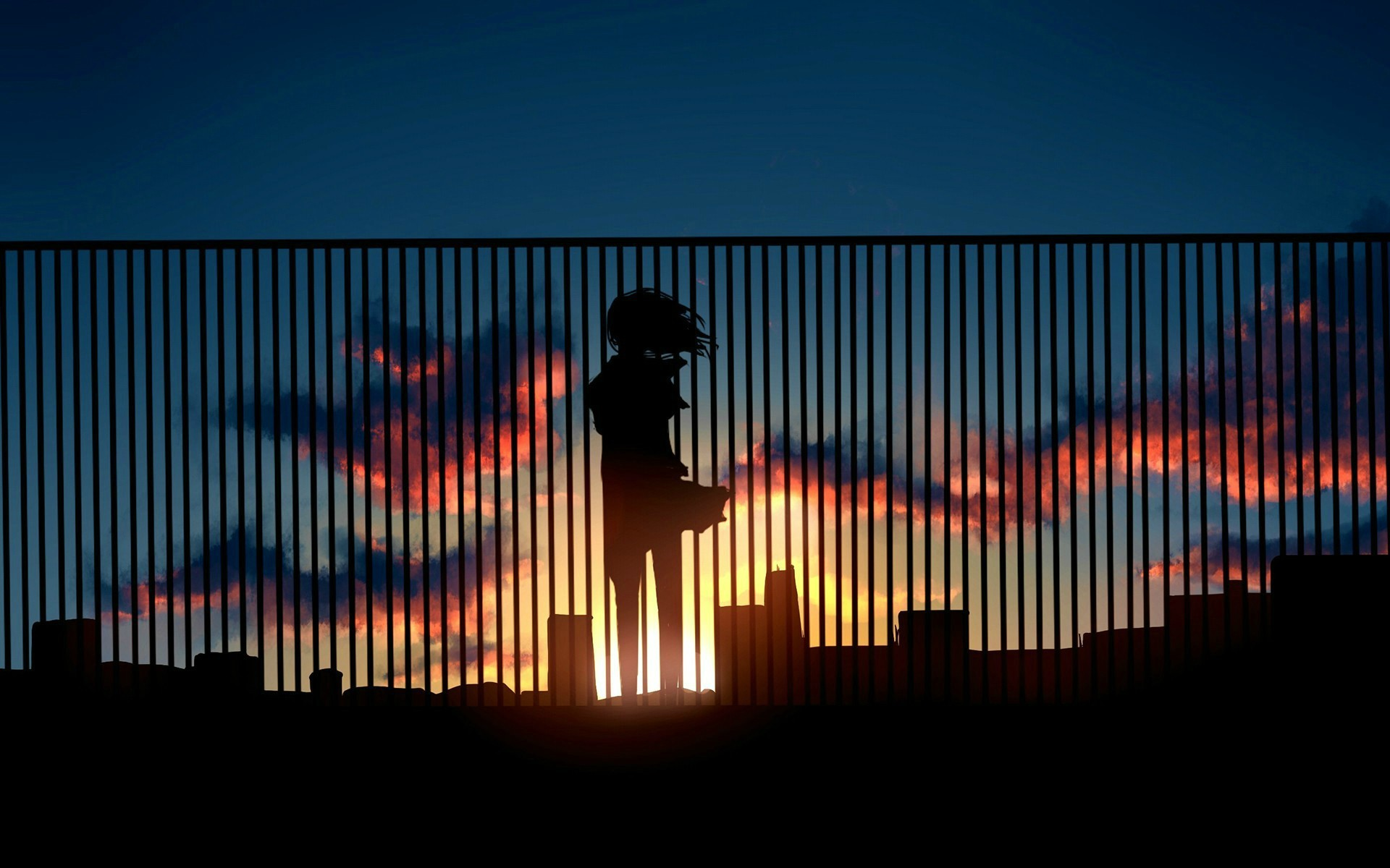Anime Girl Sunrise Wallpaper With Resolution Anime Silhouette Sunset 285704 Hd Wallpaper Backgrounds Download
