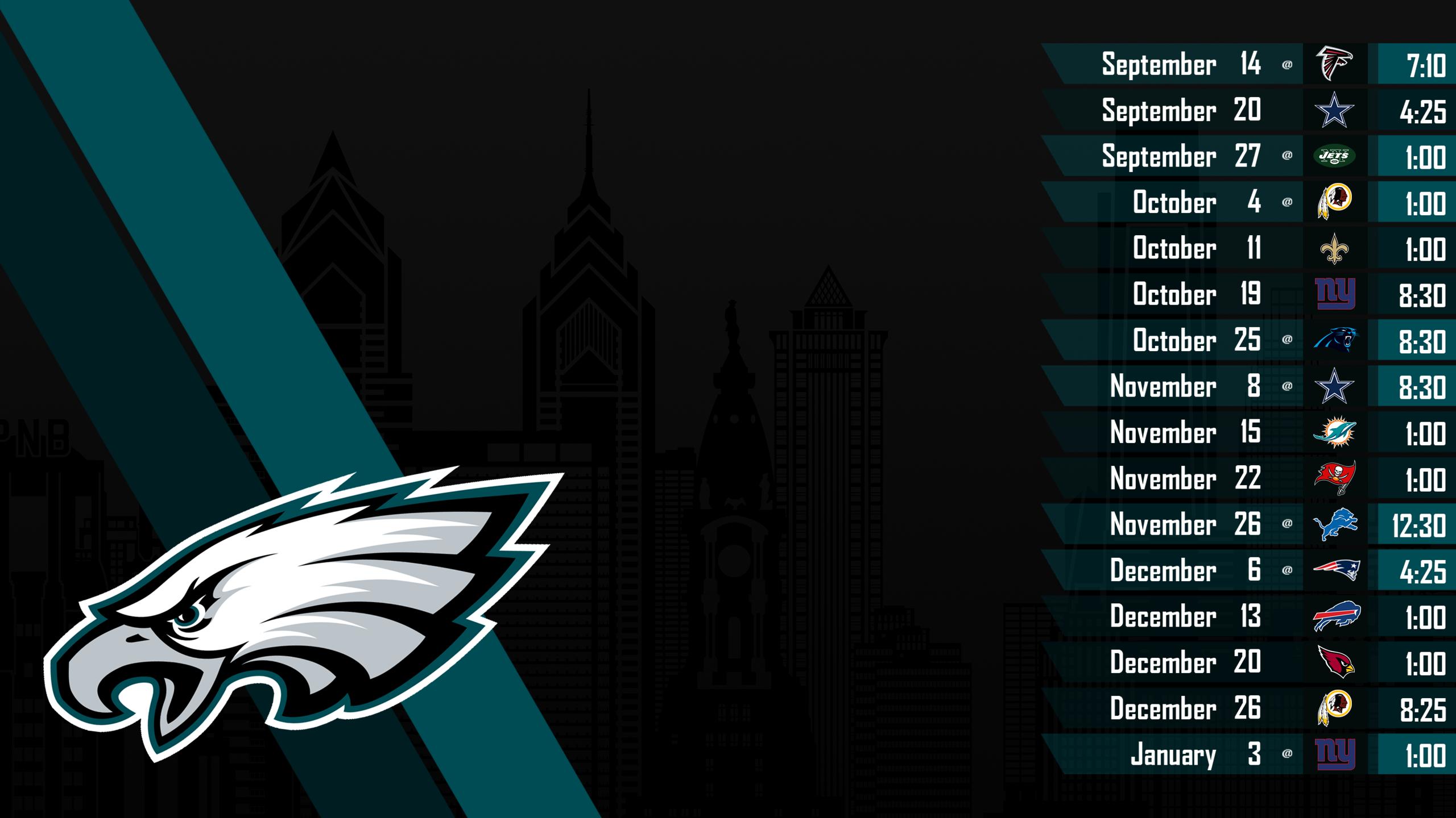 Desktop Wallpaper Philadelphia Eagles - Philadelphia Eagles Schedule Wallpaper 2018 , HD Wallpaper & Backgrounds