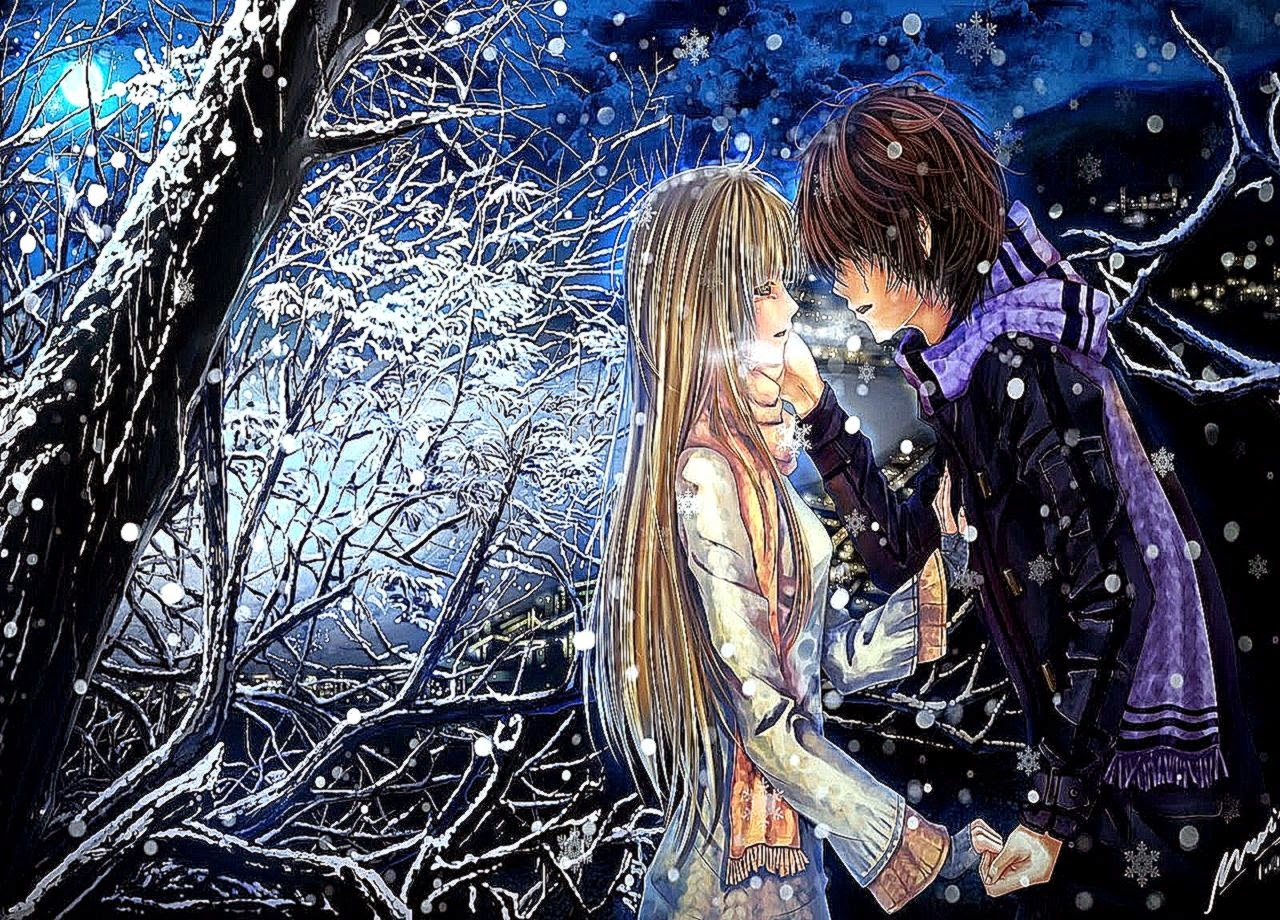 Download Anime Boy Girl Couple Love Cool Wallpaper - Anime Romantic Wallpaper Hd , HD Wallpaper & Backgrounds