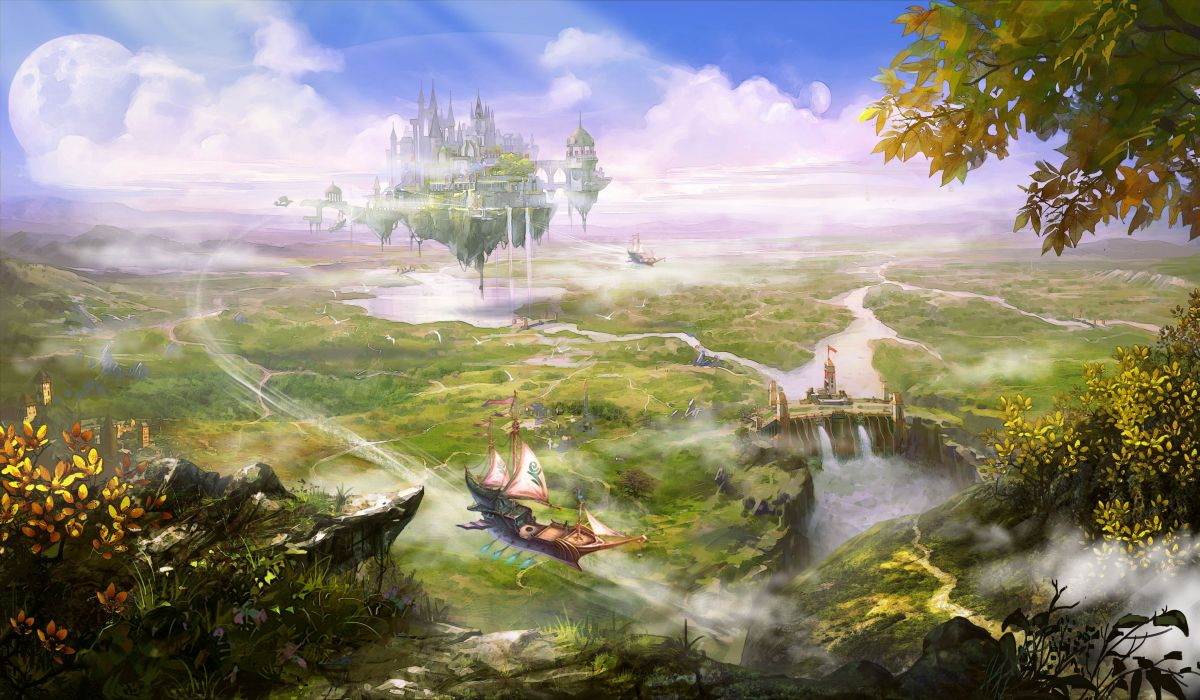 Fantasy Landscape Art Artwork Nature Scenery Wallpaper - Nature Fantasy Landscape , HD Wallpaper & Backgrounds