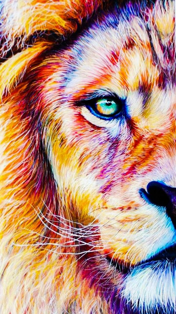 Lion Close Up Painting , HD Wallpaper & Backgrounds