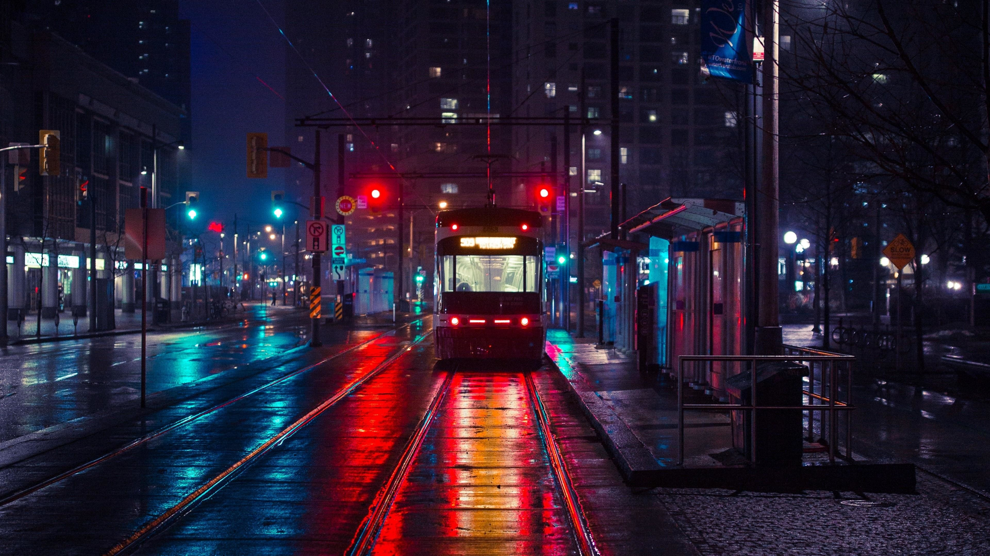 3840x2160 Tram In The Night City Wallpaper Night City 2840625 Hd Wallpaper Backgrounds Download