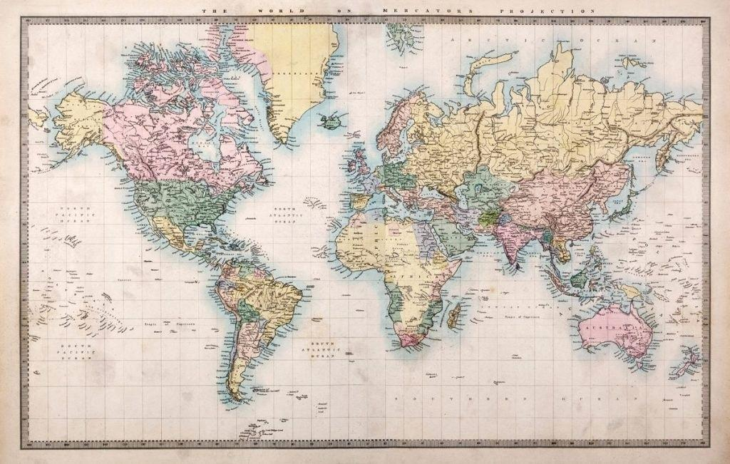 World Map Wallpaper - World Map Wallpaper Vintage , HD Wallpaper & Backgrounds