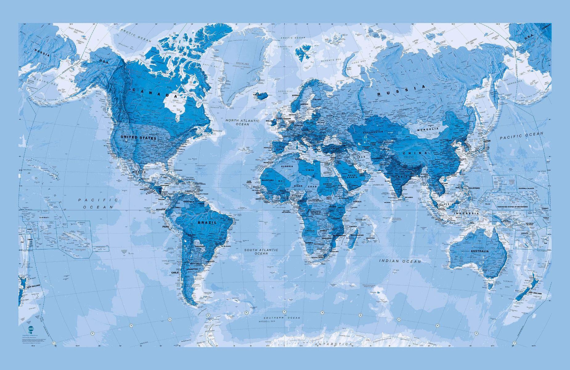 Blue World Map Wallpaper - World Map Wallpaper Blue , HD Wallpaper & Backgrounds