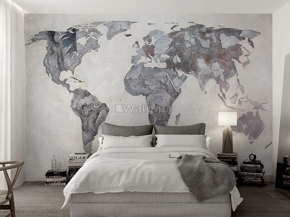 World Map Wallpaper Bedroom , HD Wallpaper & Backgrounds