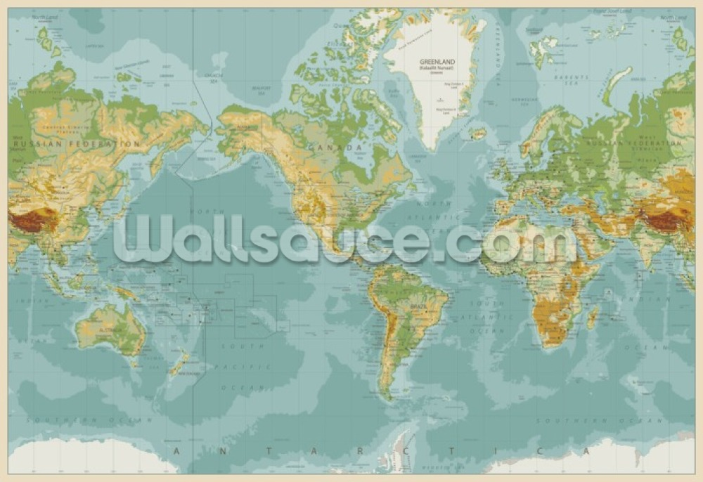 Natural Toned World Map Wall Mural - Physical Map Of The World , HD Wallpaper & Backgrounds