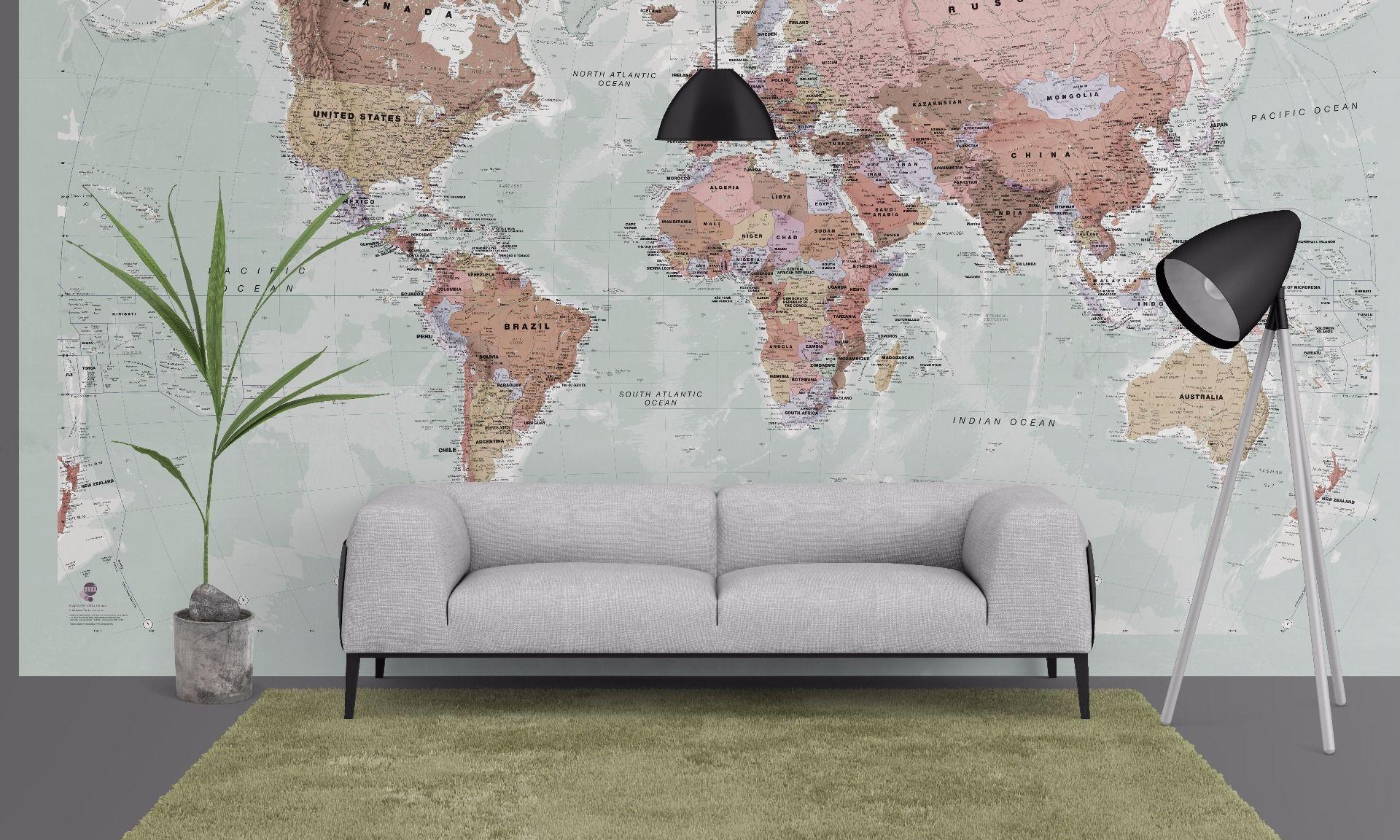Executive World Map Wallpaper - World Map Wallpaper For Wall , HD Wallpaper & Backgrounds