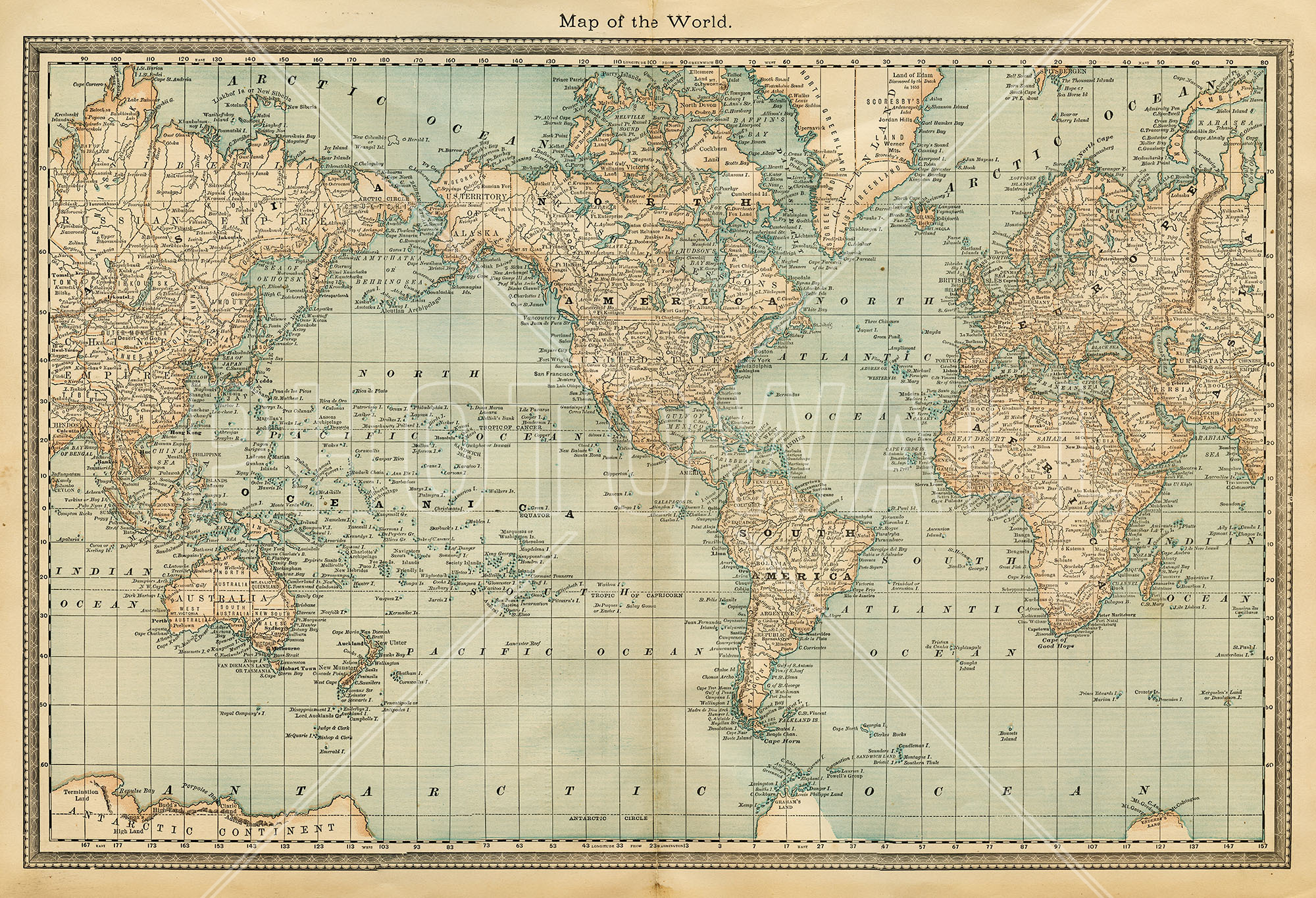 Pale Vintage World Map - World Map Muted Colours , HD Wallpaper & Backgrounds