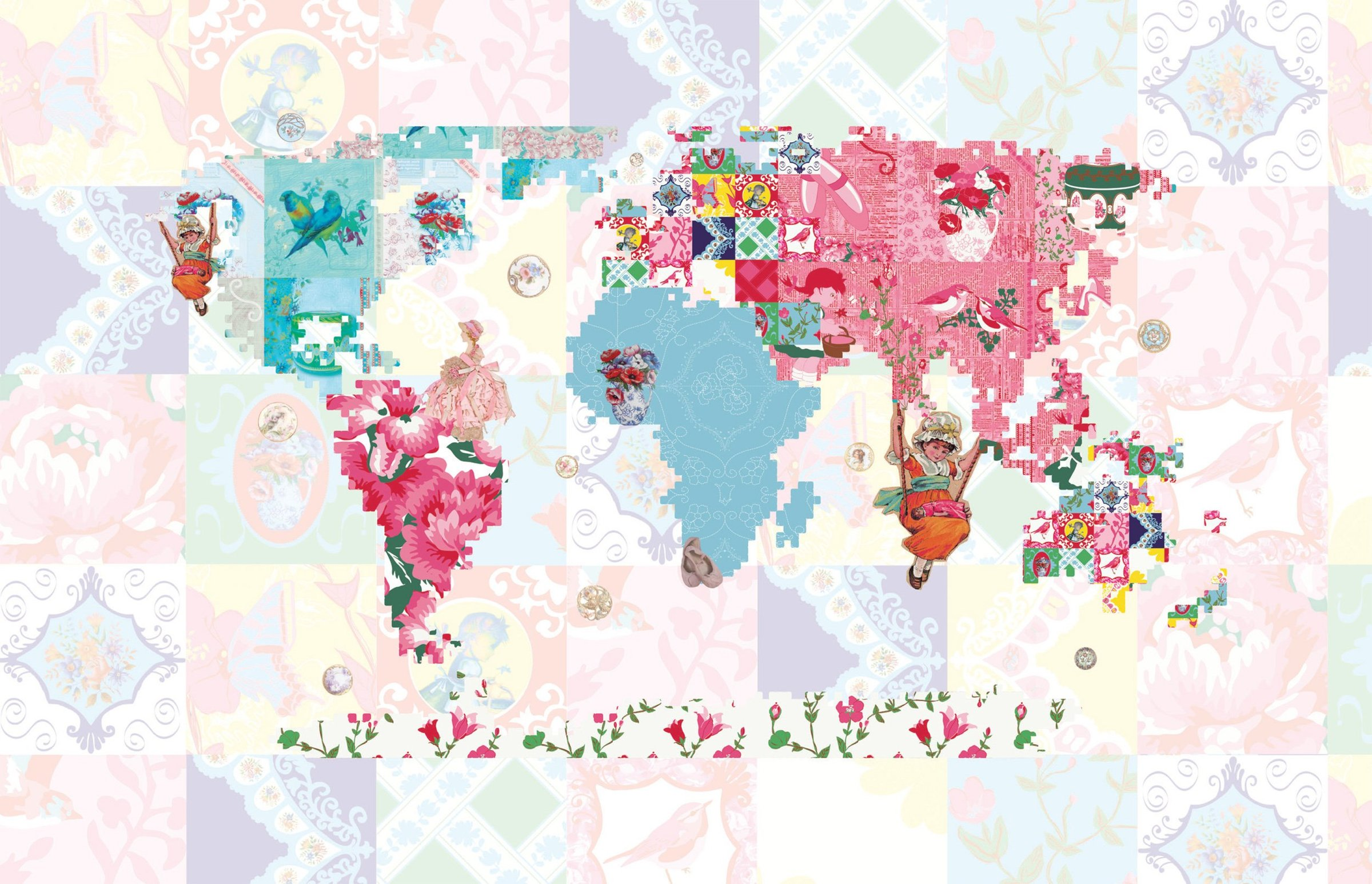 World Maps Childs World Map Wallpaper Map758015 - World Map Pink Wall Mural , HD Wallpaper & Backgrounds