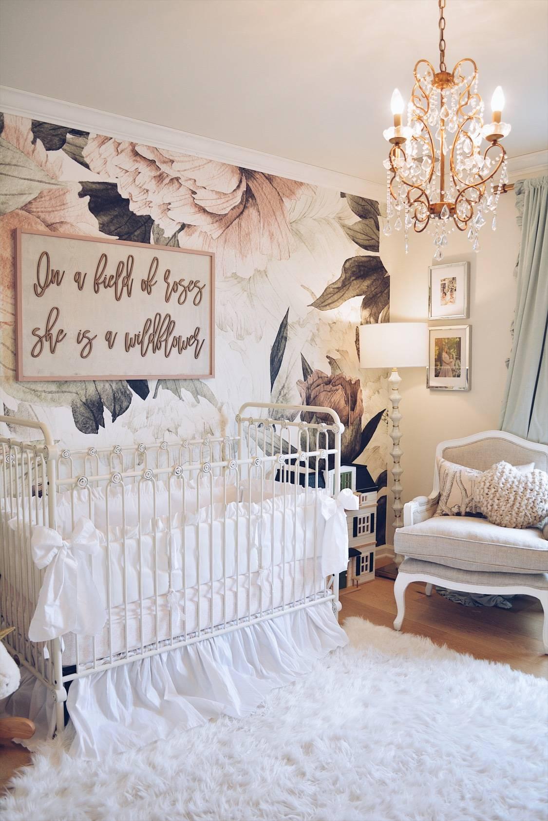 Wallpaper Nursery Accent Wall, Nursery Ideas Girl, - Accent Wall Girl Nursery , HD Wallpaper & Backgrounds