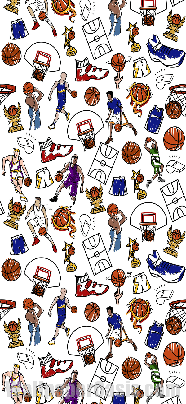 Colorful Basketball Doodle Iphone Wallpaper - Basketball Wallpaper Iphone , HD Wallpaper & Backgrounds