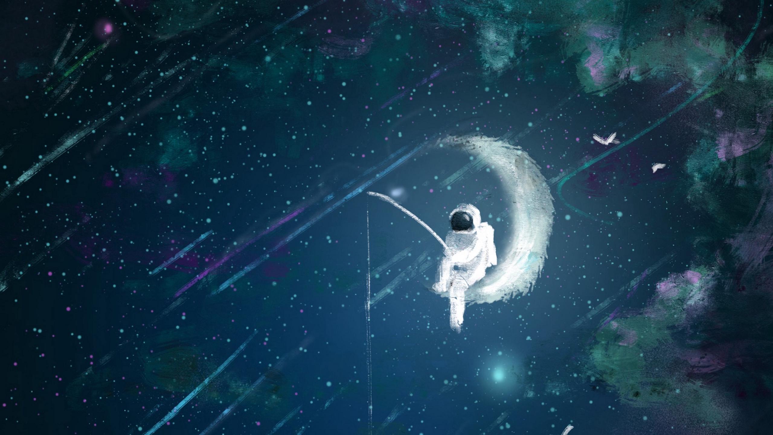 Wallpaper Astronaut, Moon, Fishing, Art - Space Fishing Hd , HD Wallpaper & Backgrounds