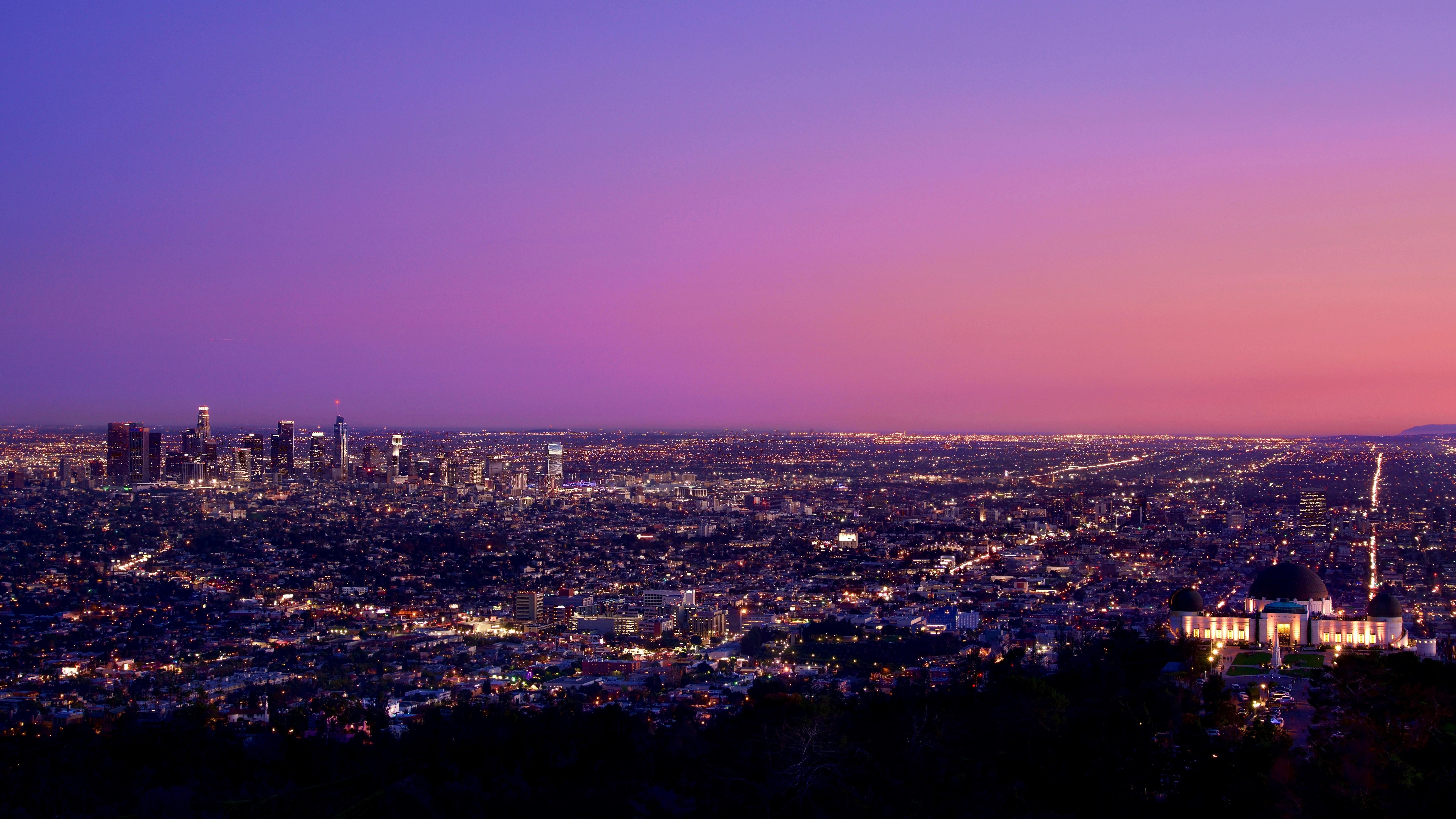 Los Angeles At Nightfall Usa 8k 7680×4320 - Los Angeles , HD Wallpaper & Backgrounds