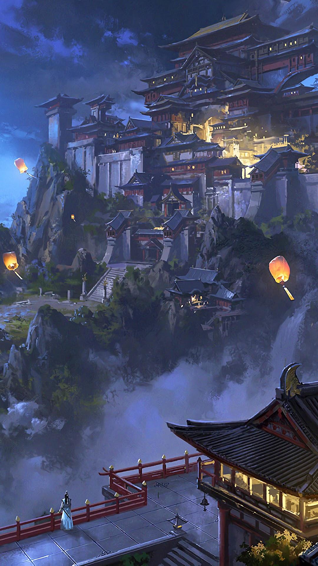 286 2868925 anime sky lantern mountain japanese castle night iphone