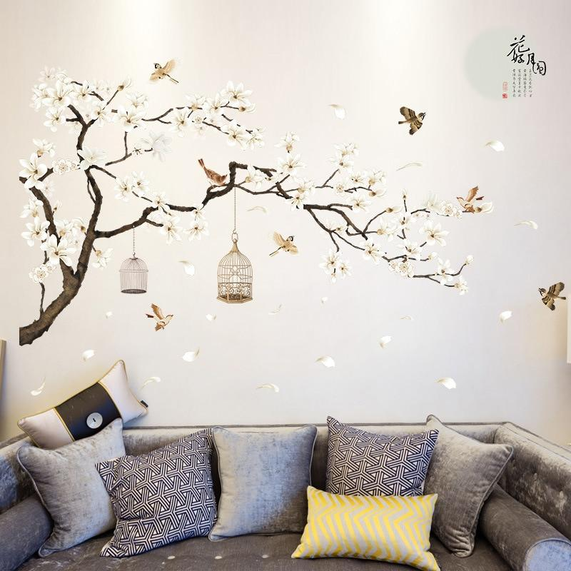 187*128cm Big Size Tree Diy Wall Stickers Birds Flower - Tree Wall Stickers For Bedroom , HD Wallpaper & Backgrounds