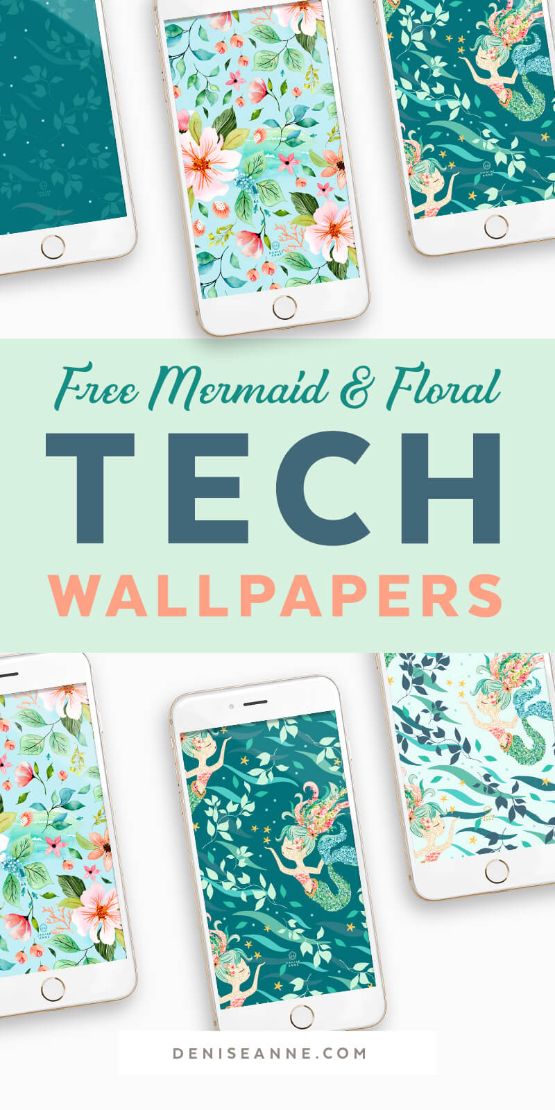 Free Mermaid Tropical Floral Watercolor Phone Wallpaper Mobile Phone 2877199 Hd Wallpaper Backgrounds Download
