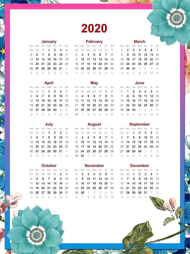 Calendar, 2020 , White Background, Frame, Portrait - Calendar , HD Wallpaper & Backgrounds