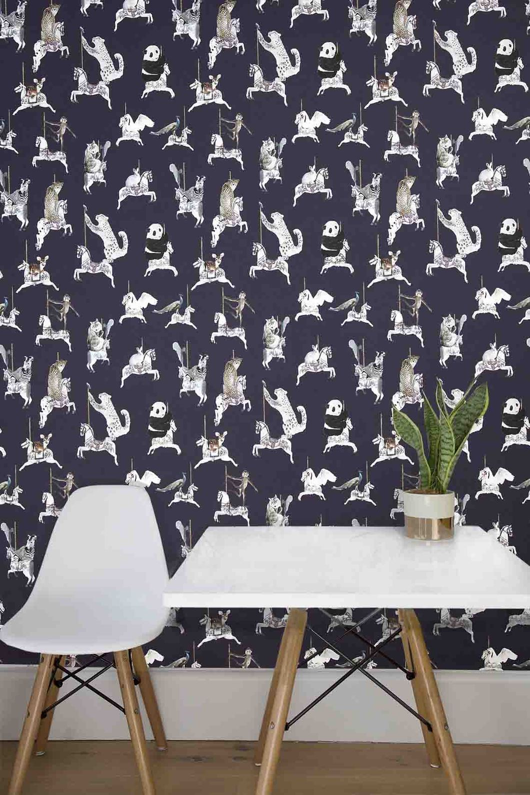 Wallpaper Sample In Navy With Snow Leopards, Pandas, - Animal Wallpaper For Walls , HD Wallpaper & Backgrounds
