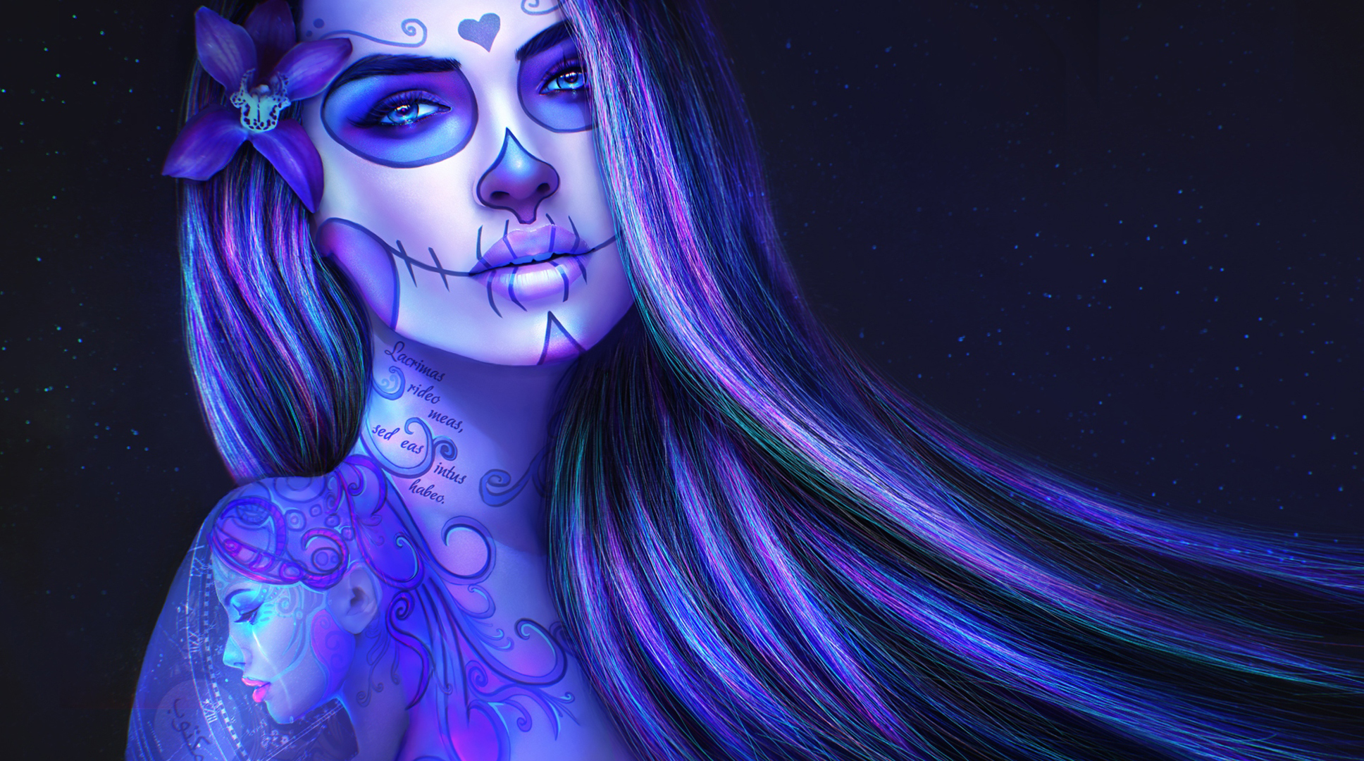 Dia De Los Muertos Face Make Up On Tattoed Girl Purple