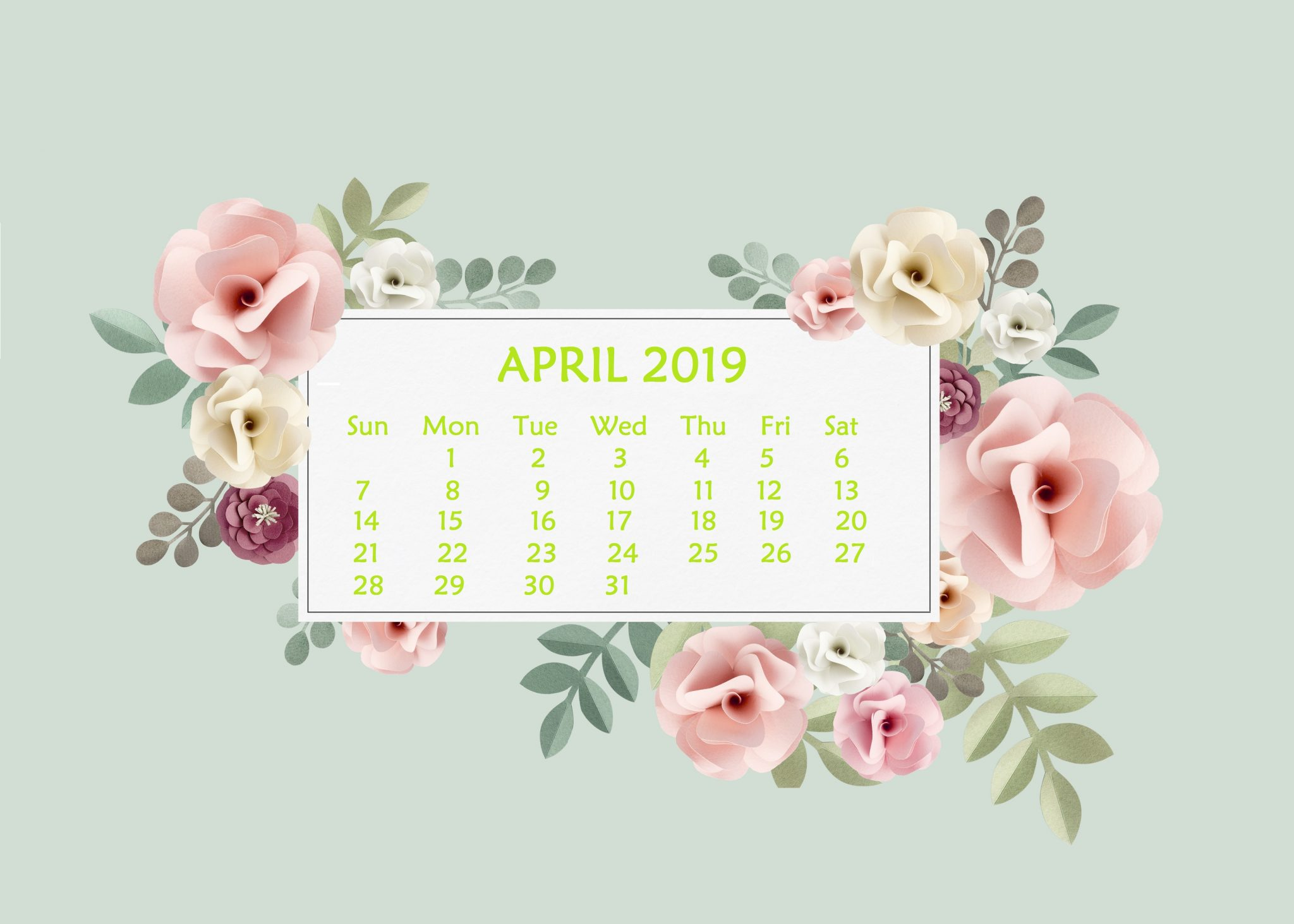 April 2019 Desktop Wallpaper With Calendar - April 2019 Calendar Computer Background , HD Wallpaper & Backgrounds