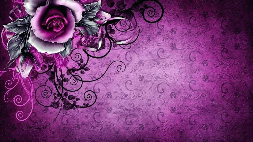 Wall Paper Rose Rose Purple Vintage Flowers Original - Purple Wallpaper Design , HD Wallpaper & Backgrounds