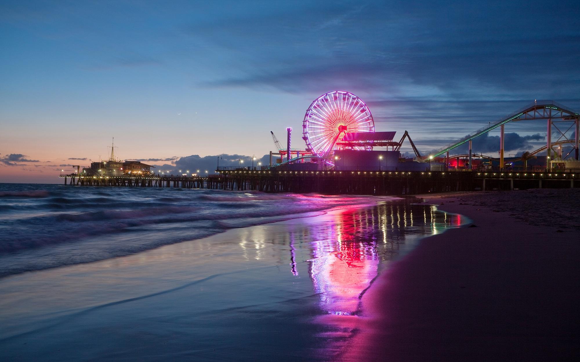 Los Angeles Santa Monica Pier Skyline , HD Wallpaper & Backgrounds