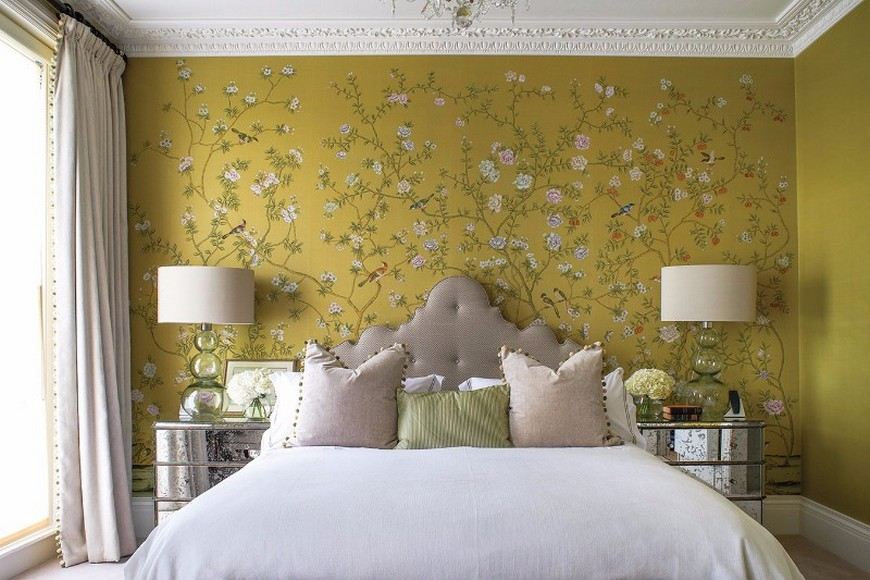 The Most Vibrant Design Wallpaper Ideas For Your Bedroom - Yellow Bedroom Wallpaper Ideas , HD Wallpaper & Backgrounds