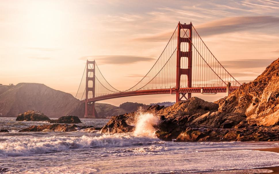 Usa, San Francisco, Golden Gate Bridge, Rocks, Waves, - Golden Gate National Recreation Area , HD Wallpaper & Backgrounds