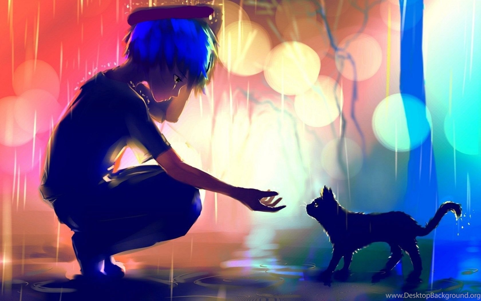 Anime Boy With Cat 3d Wallpaper Images Full Hd - Anime Sad With Cat , HD Wallpaper & Backgrounds