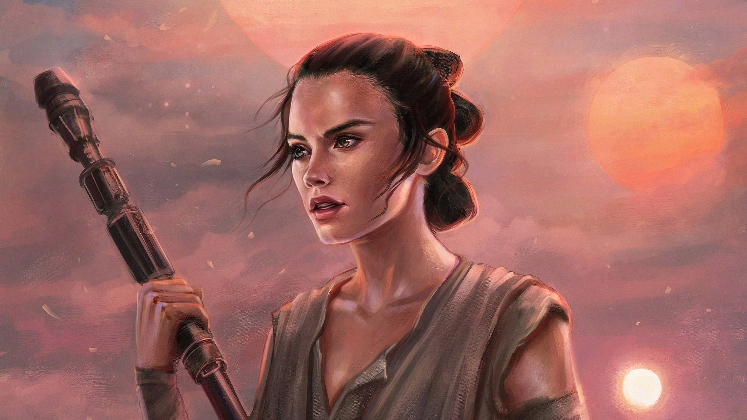 Sci Fi Star Wars Rey Hd Wallpaper Background Image - Rey Star Wars Art , HD Wallpaper & Backgrounds