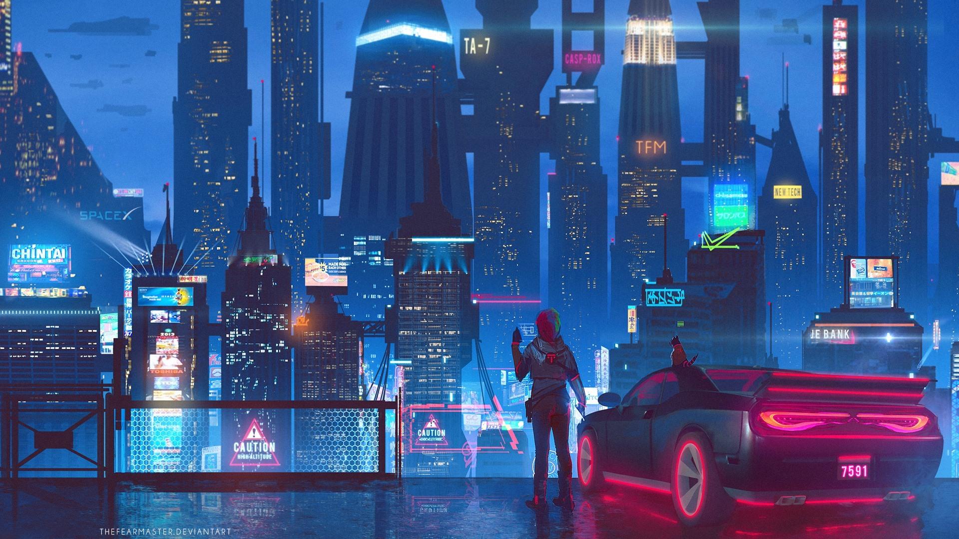 Wallpaper Future City, Skyscrapers, Lights, Night, - Future City Wallpaper Hd , HD Wallpaper & Backgrounds