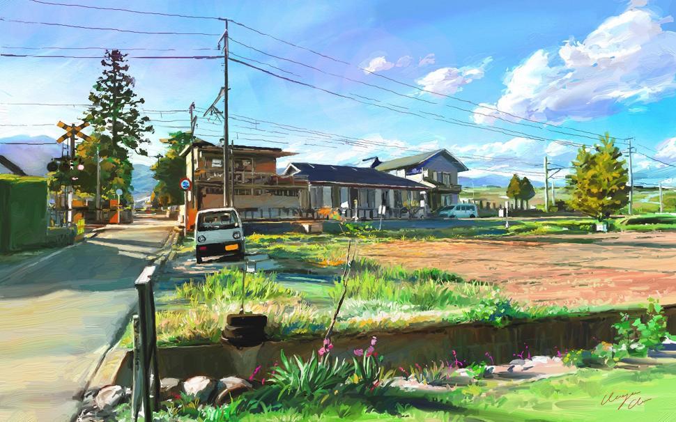 Art Painting, Japan, Landscape, Village Wallpaper,art - Village Painting Wallpaper Hd , HD Wallpaper & Backgrounds