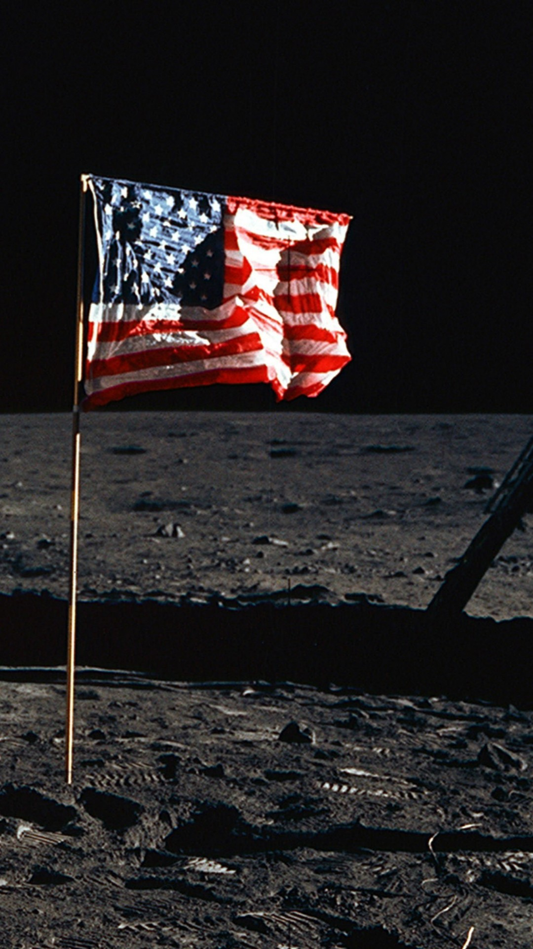 Wallpaper American Flag For Iphone With High-resolution - 2 People On The Moon , HD Wallpaper & Backgrounds