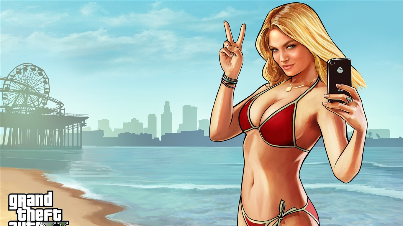 Bikini Girl-grand Theft Auto V Gta 5 Game Hd Wallpaper2013 - Lindsay Lohan Grand Theft Auto V , HD Wallpaper & Backgrounds